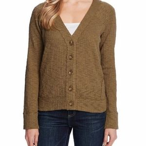 Two by Vince Camuto Button Green Cardigan